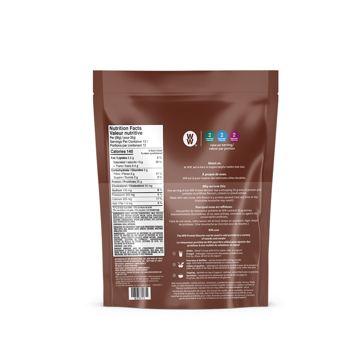 Chocolate Protein Booster - back of the pouch