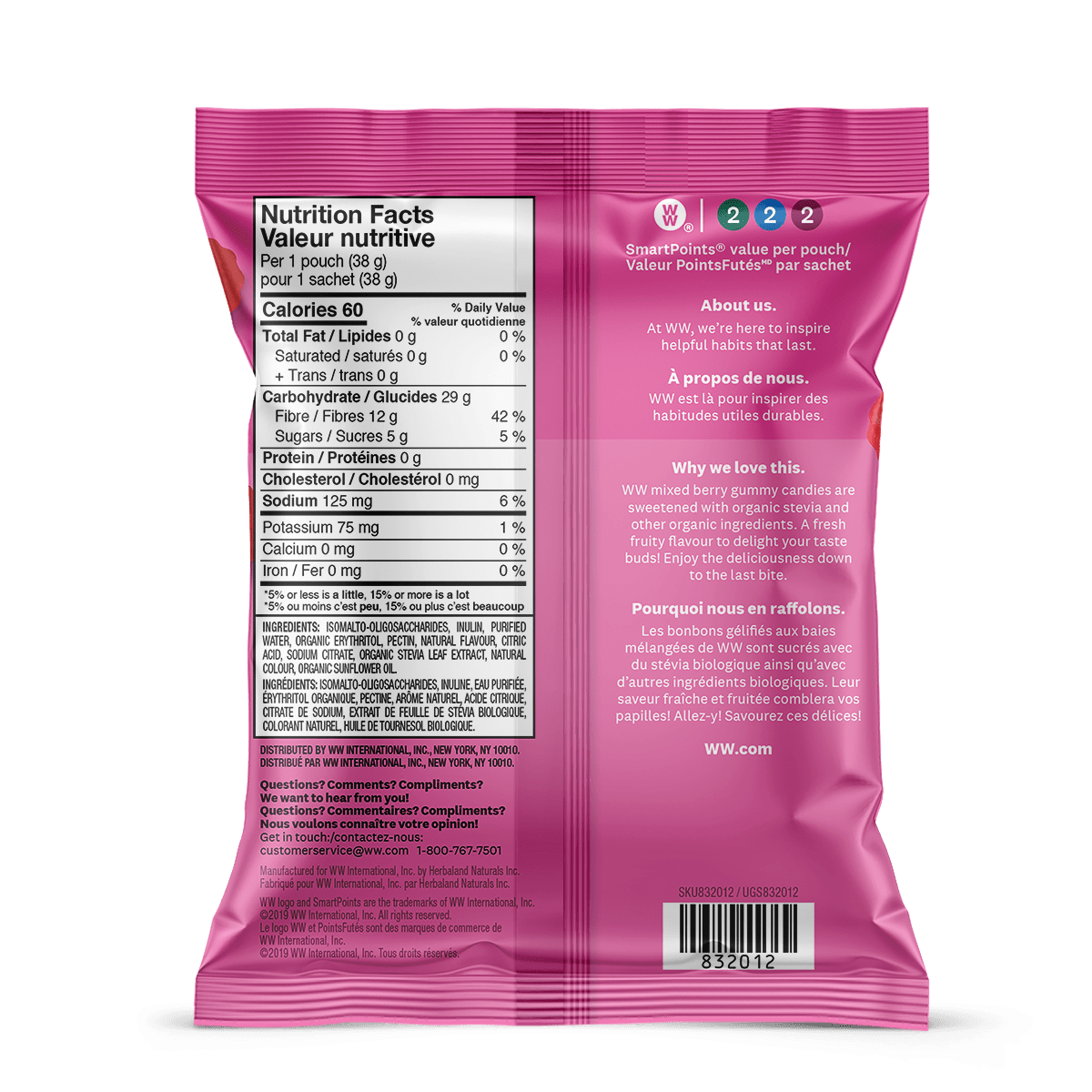 WW Sweets Mixed Berry (Box of 12) - back of the pouch