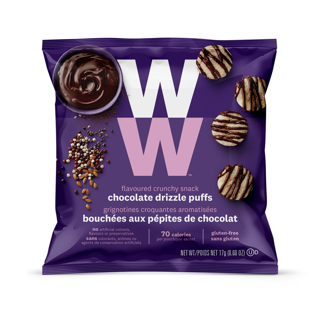 Chocolate Drizzle Puffs - front of the pouch