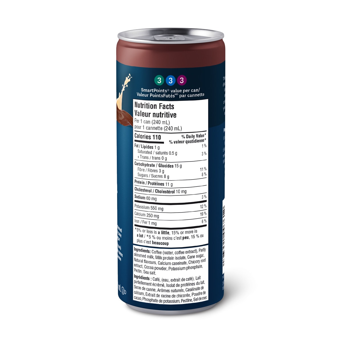 WW Cafe Mocha, Single Can side with nutritional facts