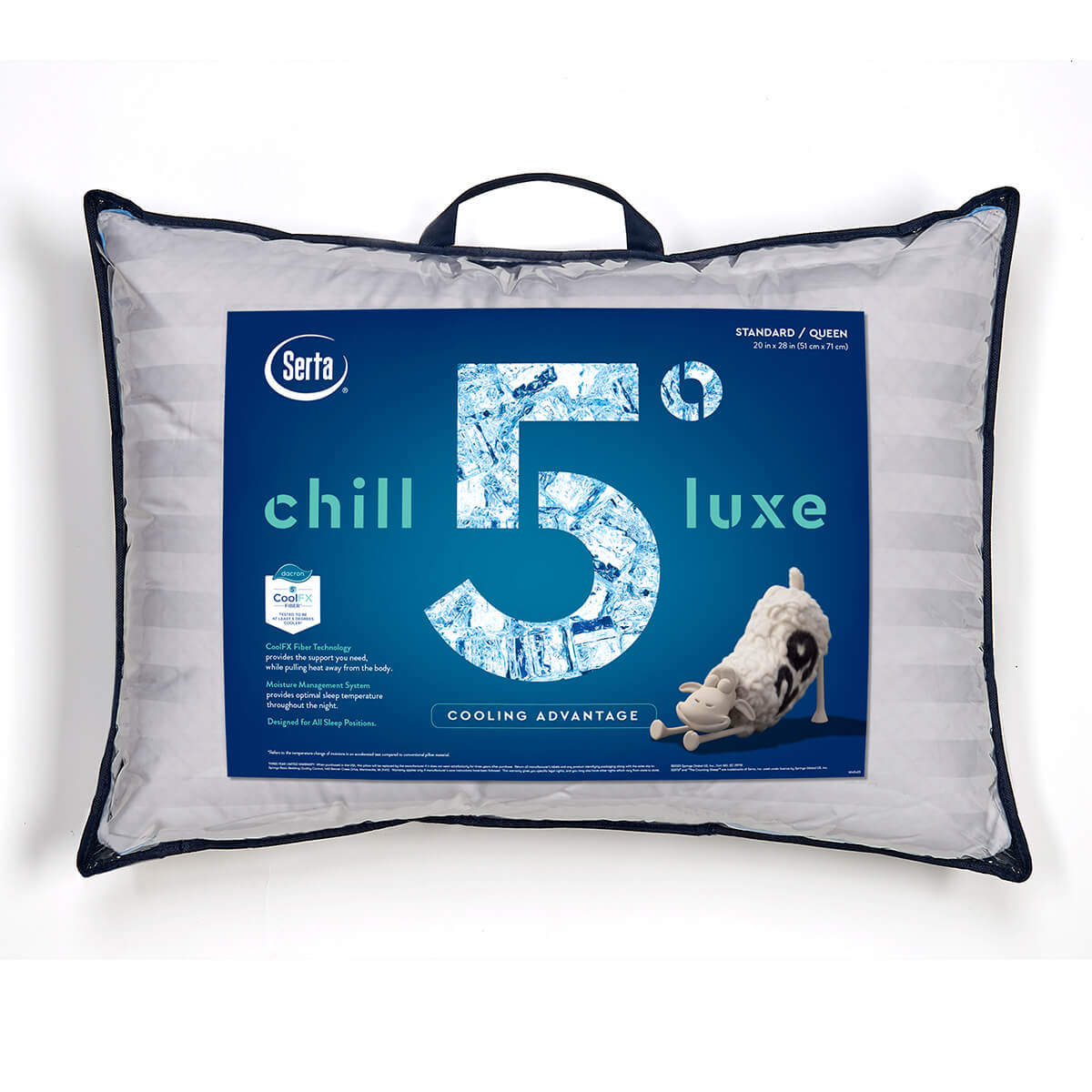 Serta 5 Degree Chill Luxe Cooling Pillow - front of pillow with packaging